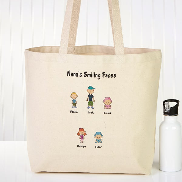 Family Cartoon Characters Personalized Canvas Tote Bag - 6976