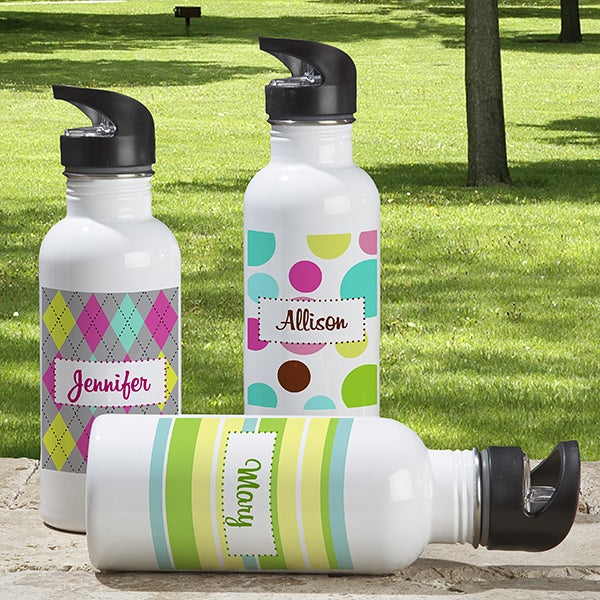 Personalized Water Bottle - Girl On The Go - 7185