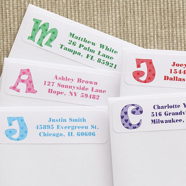 Personalized Kids Address Labels - Alphabet Name - 7214