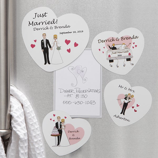 Personalized Bride & Groom Wedding Magnets - Just Married - 7266
