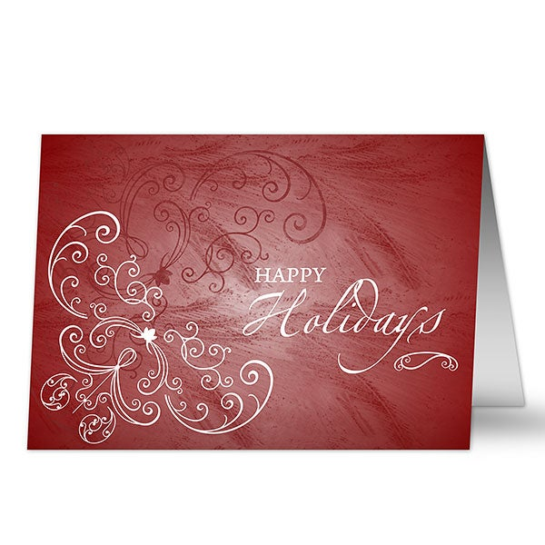 Personalized Christmas Cards - Holiday Swirls - 7291