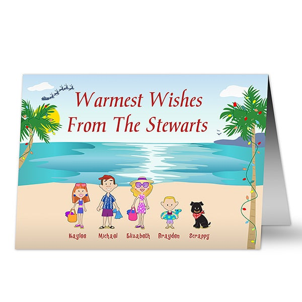 Beach Family Characters Personalized Christmas Cards - 7314
