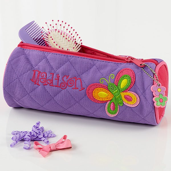 Girls Personalized Butterfly Duffel Bag & Cosmetic Case - 7347