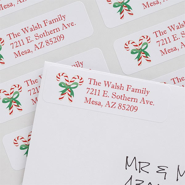 personalized christmas return address labels candy cane