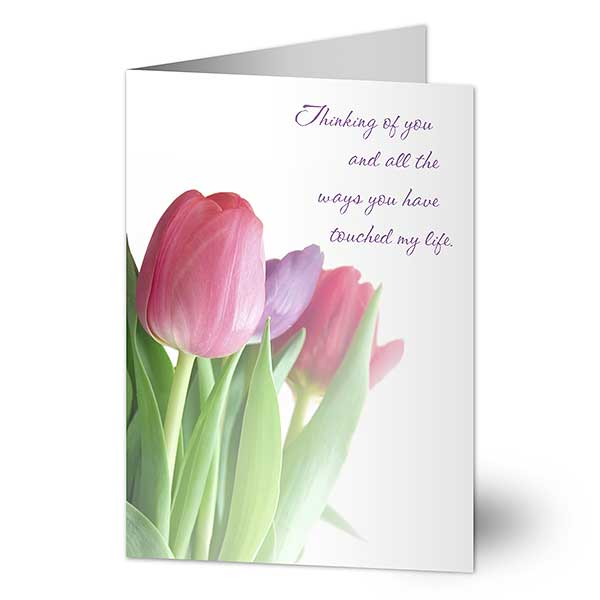 Floral Personalized Greeting Cards - Tulips - 7481