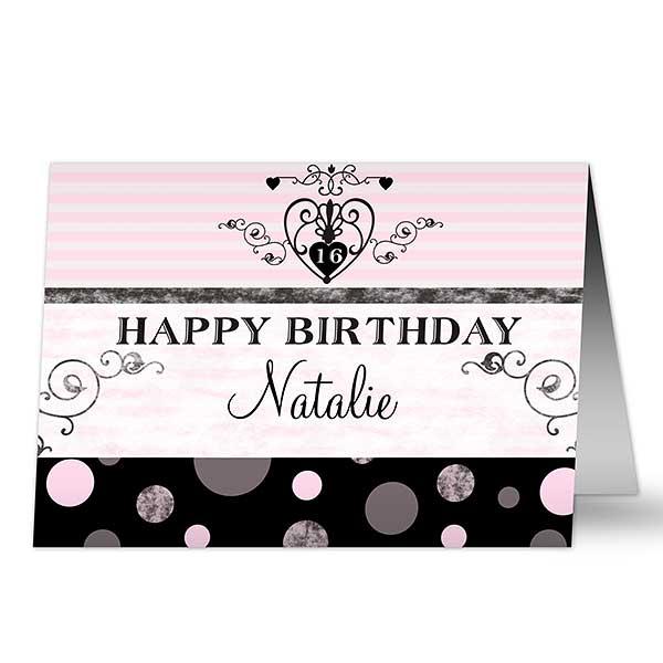 Girls Personalized Birthday Cards - 7491