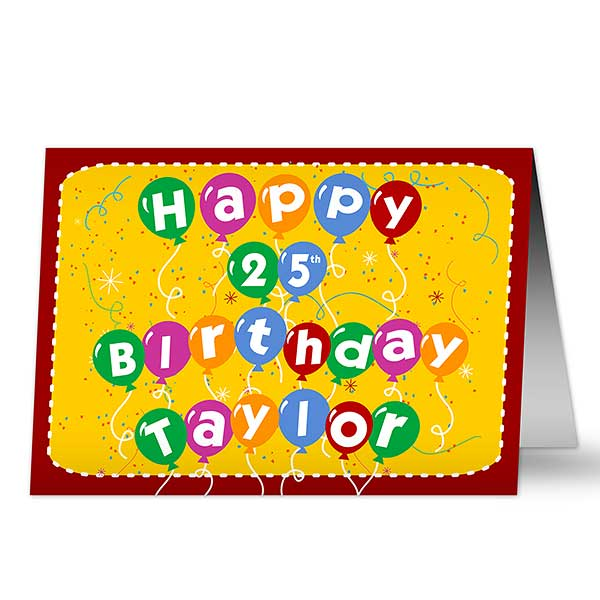 Birthday Balloons Personalized Greeting Card