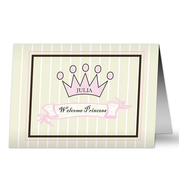 Baby Girl Personalized Greeting Cards Royal Welcome Greeting Cards