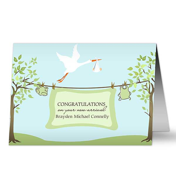 Personalized Baby Greeting Cards - New Arrival - 7495