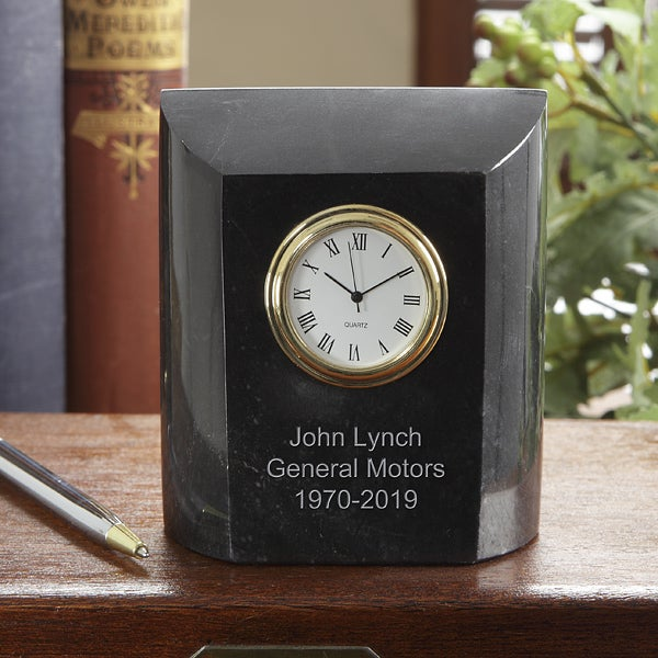 Personalized Employee Recognition Gift - Marble Desk Clock - 7610