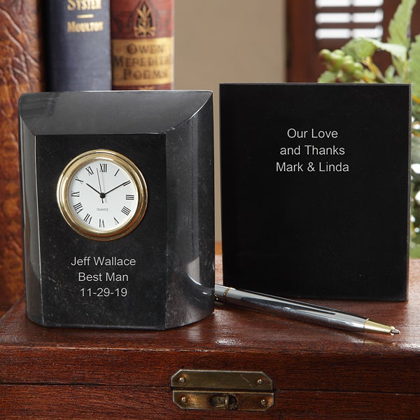 Personalized Groomsman Gifts - Marble Desk Clock - 7614