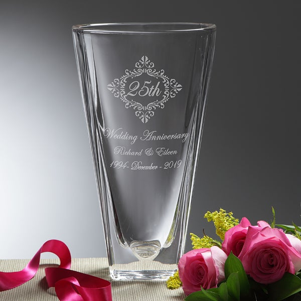 Personalized Anniversary Flower Vase Engraved Crystal