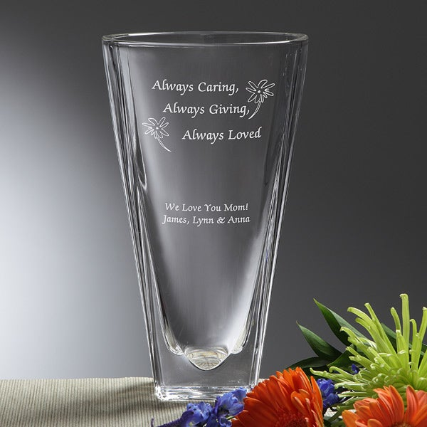 Engraved Crystal Flower Vase - Always Loved - 7617