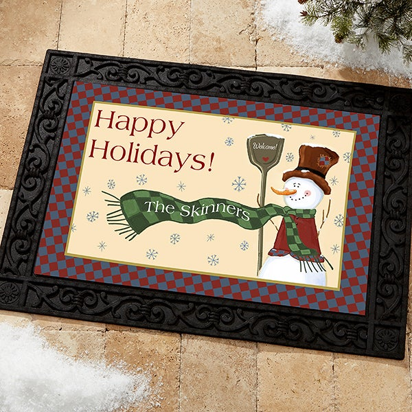 Personalized Snowman Holiday Doormat - Let It Snow - 7643