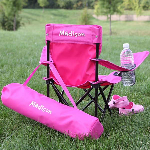 7719 toddler personalized pink folding chair for Monogrammed kids chair