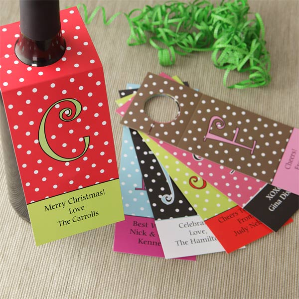 Personalized Wine Bottle Gift Tags - Polka Dots - 7740