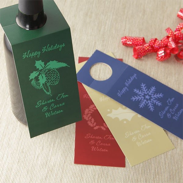 Personalized Wine Bottle Gift Tags - Holiday Greetings - 7742