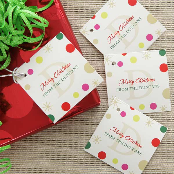 Christmas Tags.Festive Monogram Personalized Gift Tags