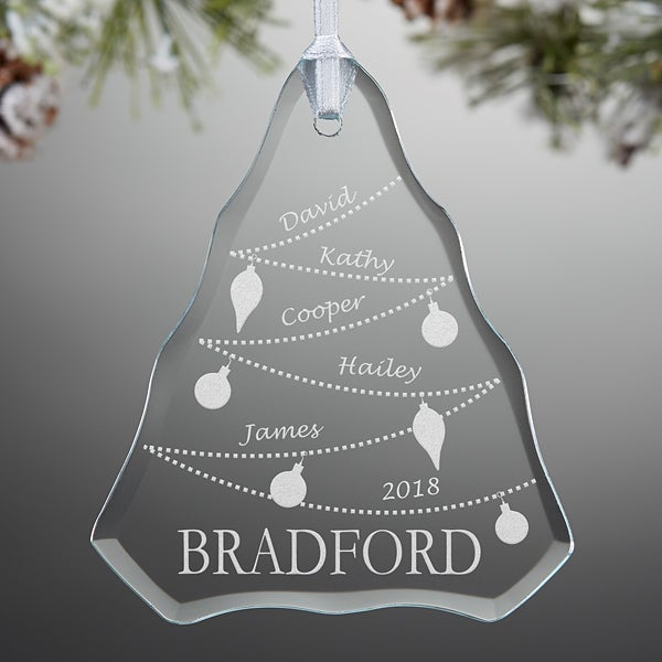 Personalized Family Christmas Ornaments - Glass Christmas Tree - 7763 - Personalized Family Christmas Ornaments - Glass Christmas Tree