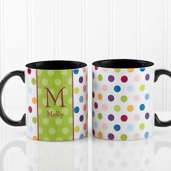 Polka Dot Personalized Coffee Mugs - 7799
