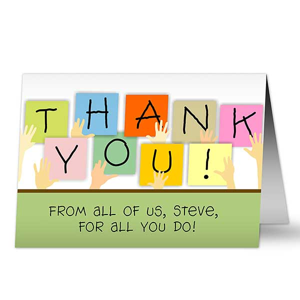 Personalized Thank You Cards - Thanks From Us All - 7940