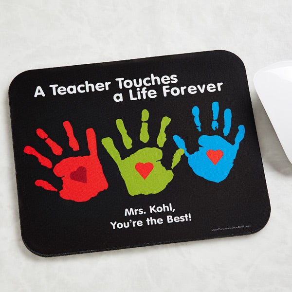 Personalized Teacher Mouse Pads - Kids Handprints - 8026
