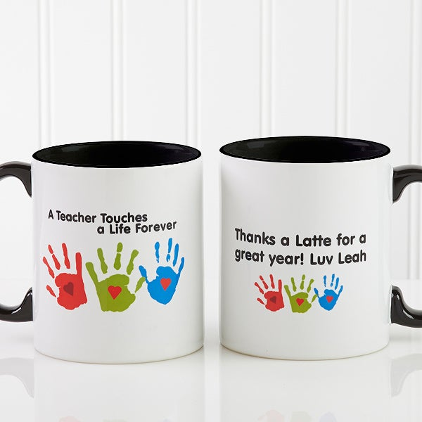 Personalized Teacher Coffee Mug Kids Handprints 8027