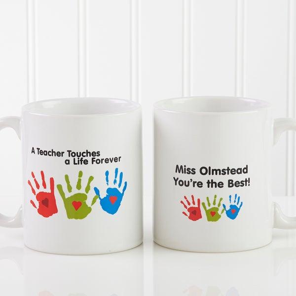 Personalized Coffee Mugs For Teachers Kids Handprints
