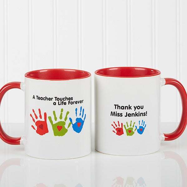 Personalized Teacher Coffee Mug - Kids Handprints - 8027
