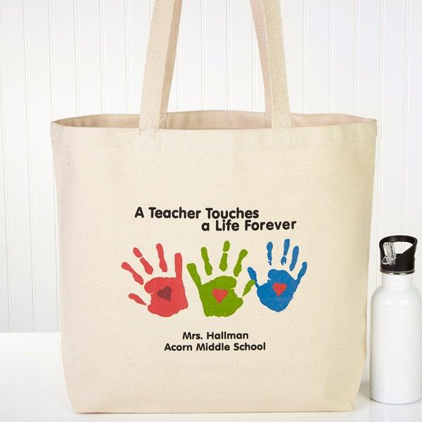 Personalized Teacher Tote Bags - Children's Handprints - 8029
