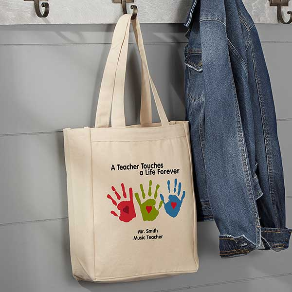 9cd463068de Colorful Hand Prints Personalized Small Teacher Tote Bag