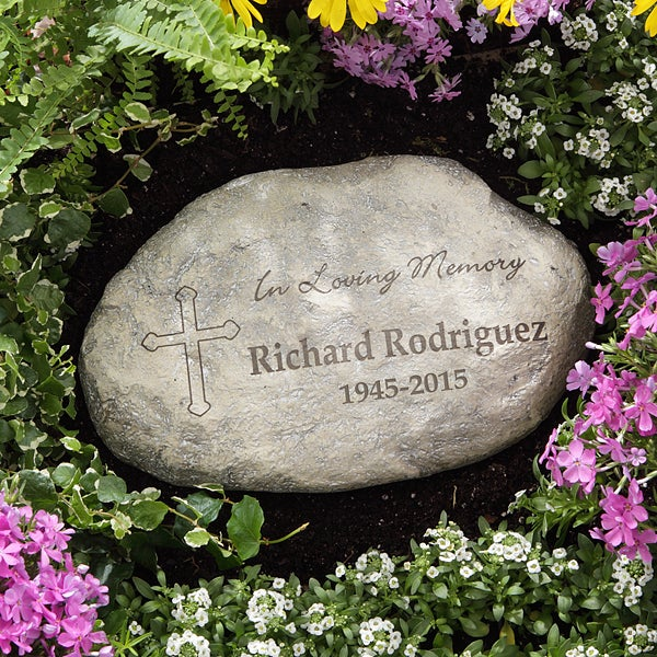 Landscape Rock With Engraving : In loving memory personalized garden stone