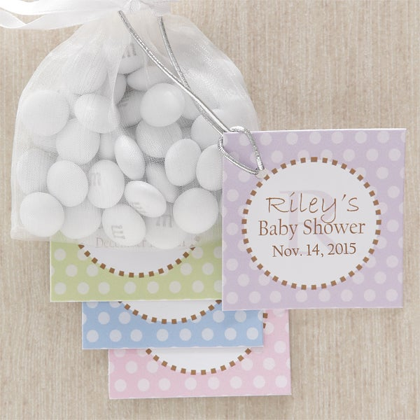 8309 pretty polka dot baby shower party favor tag