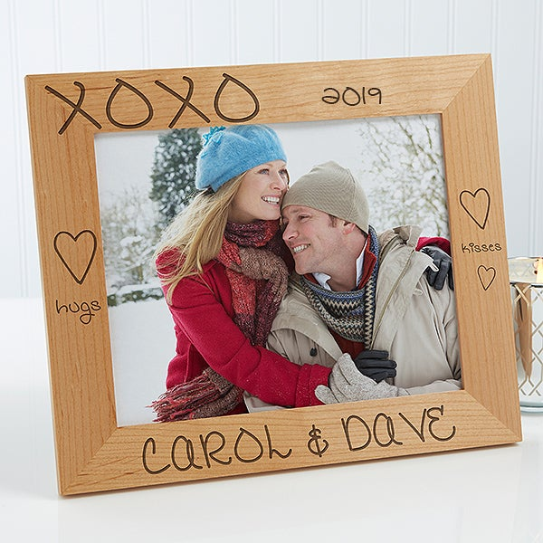 Personalized Wood Photo Frames - Hugs and Kisses Design - 8334