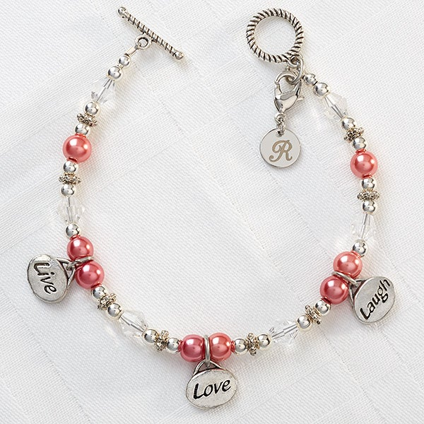 Personalized Charm Bracelets - Live, Love, Laugh - 8349