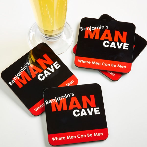 Man Cave Coasters : Man cave personalized coaster set of