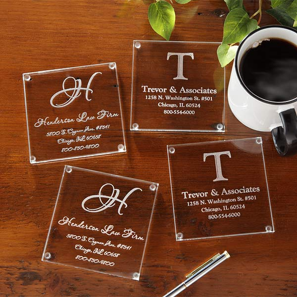 Personalized Business Address Glass Coasters - Set of 4 - 8798