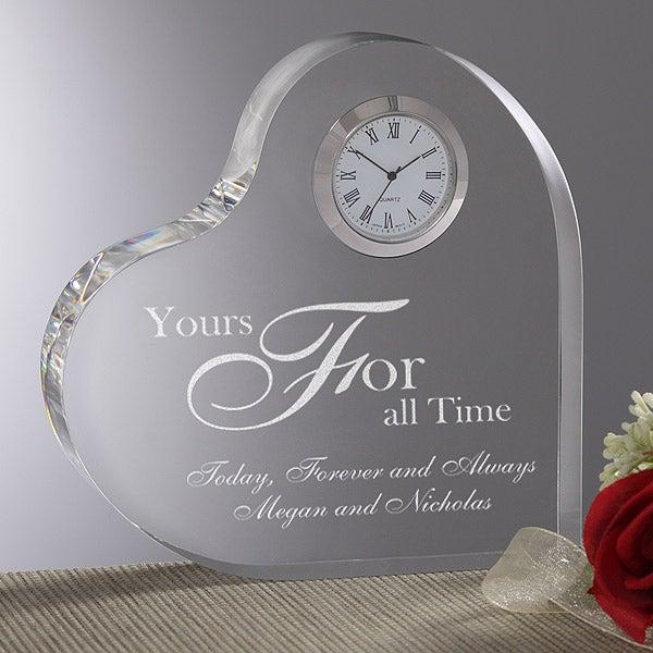 Personalized Romantic Glass Heart Clock - 8856