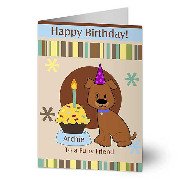 Pawprints Birthday Personalized Greeting Card