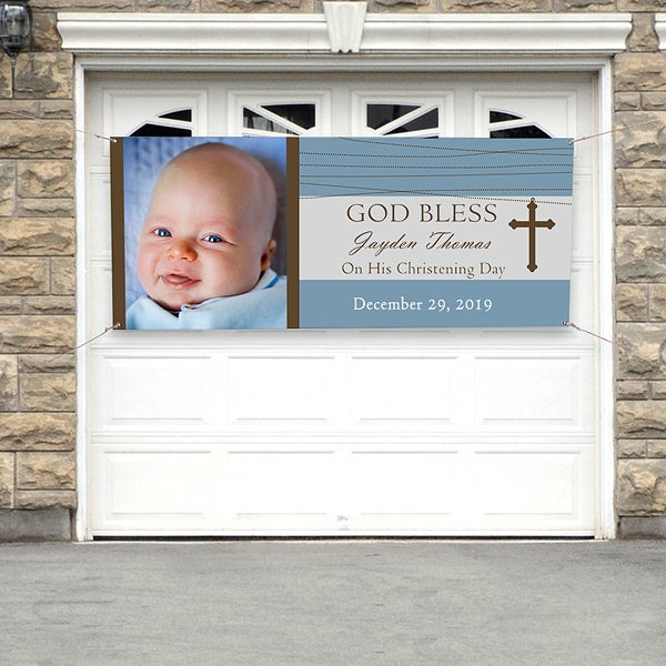 Personalized Photo Christening Banner - God Bless - 9082