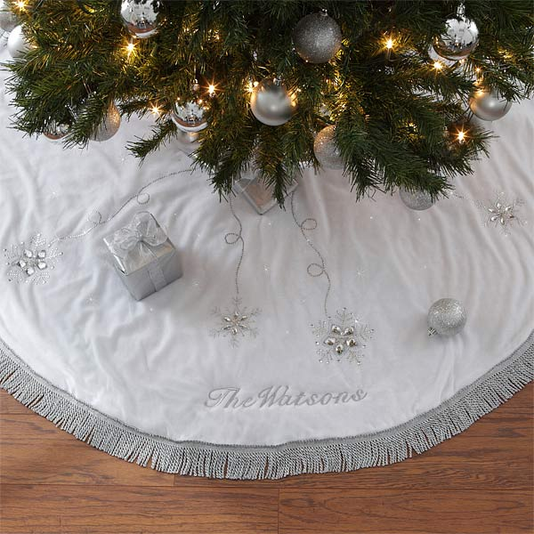 Personalized Christmas Tree Skirt - Season's Sparkle - 9140
