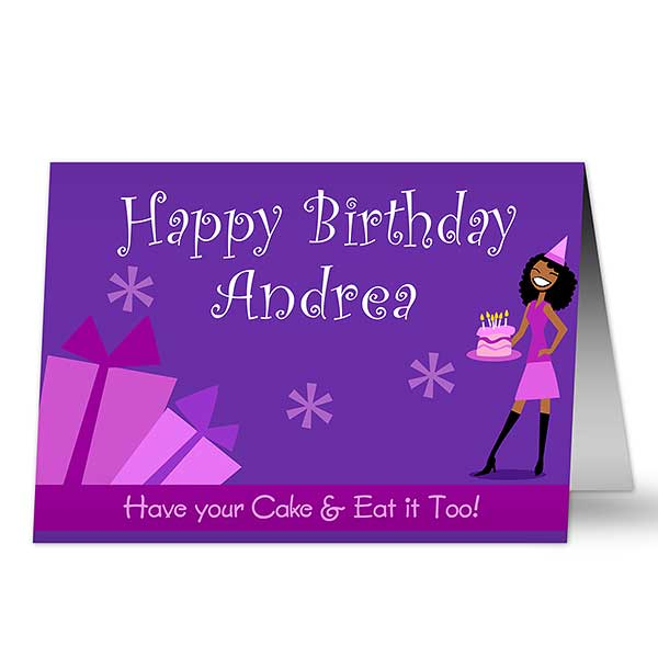 Birthday Girl Horizontal Personalized Greeting Card