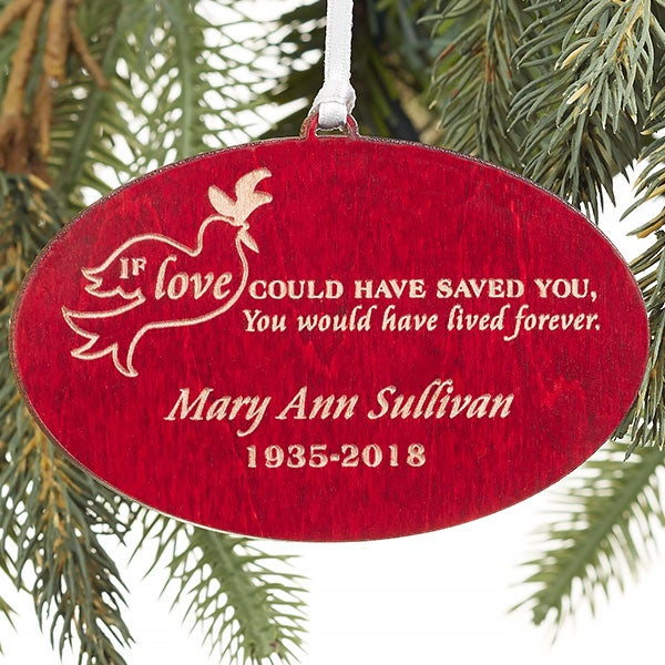 forever loved personalized red wood memorial ornament christmas