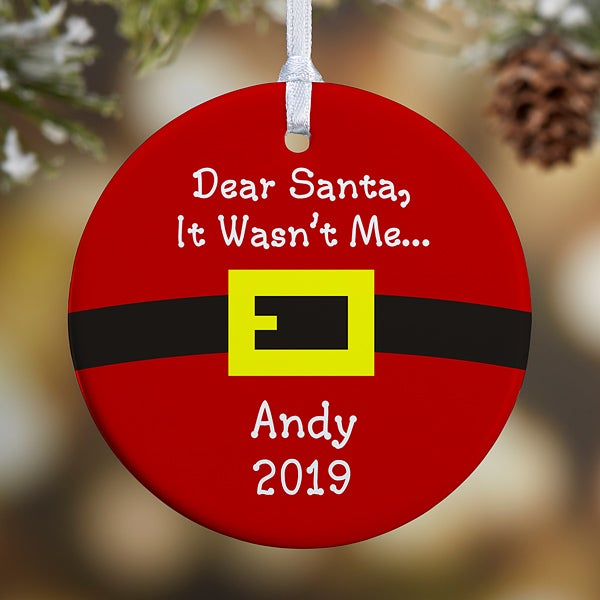 Personalized Christmas Ornaments Santa S Belt 1 Sided