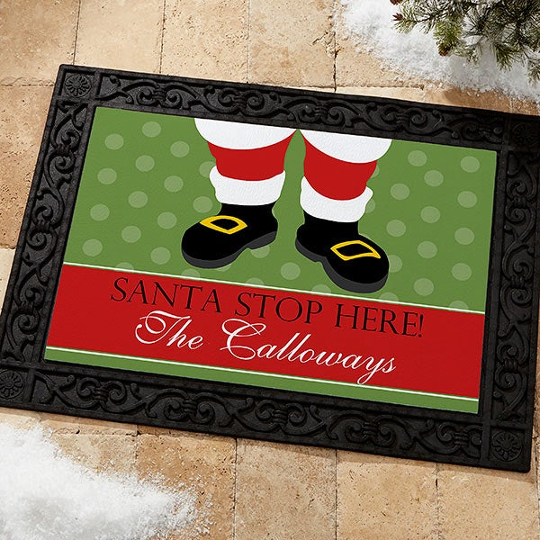 Personalized Christmas Doormats - Santa Stop Here - 9248
