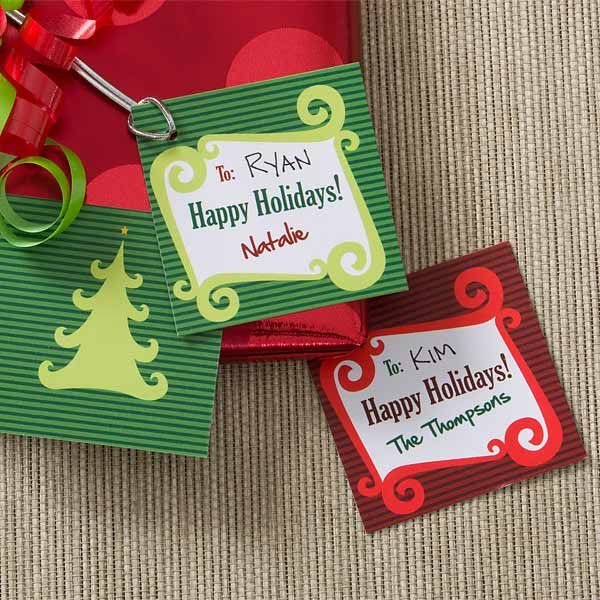 Personalized Christmas Present Gift Tags - Happy Holidays - 9257