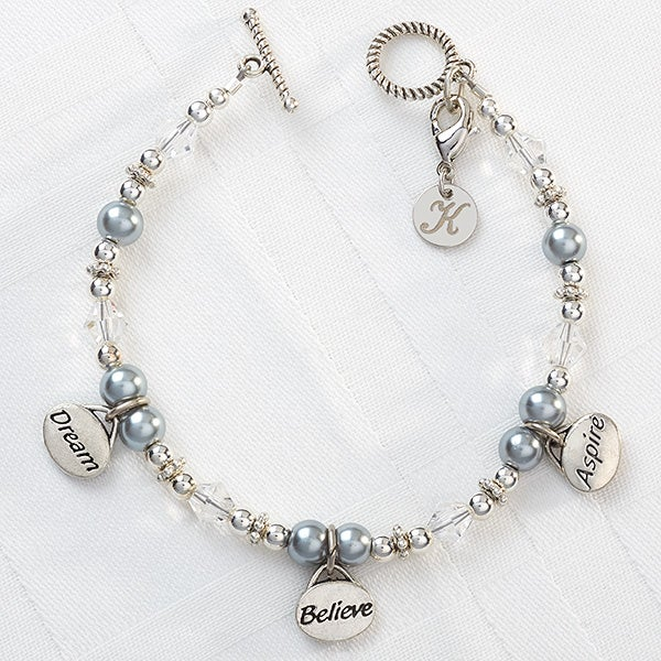 Personalized Charm Bracelet - Dream, Believe, Aspire - 9292