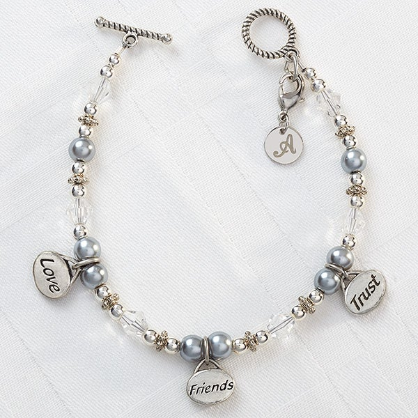 Personalized Charm Bracelets - Love, Friends, Trust - 9293