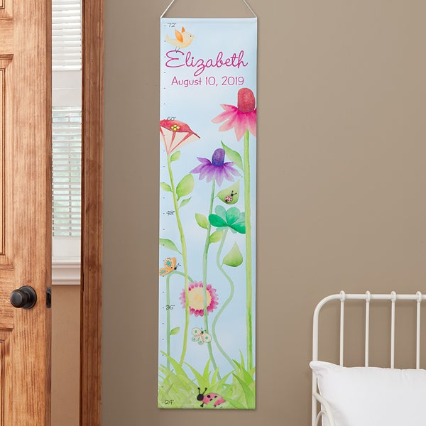 Personalized Growth Chart For Girls Flowers Butterflies