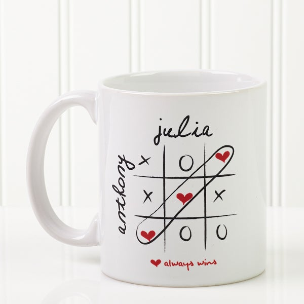 Personalized Heart Coffee Mugs Love Always Wins